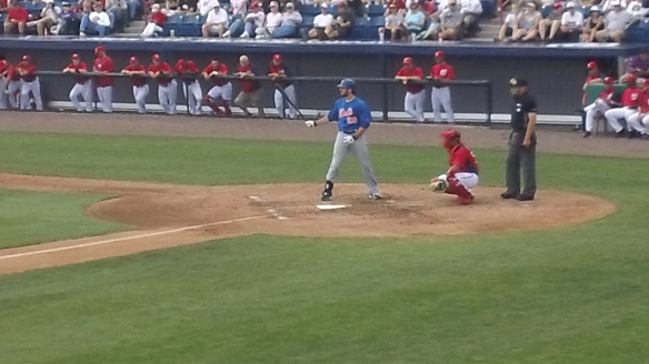 Ike Davis holds bat out.